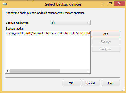 Select Backup Device