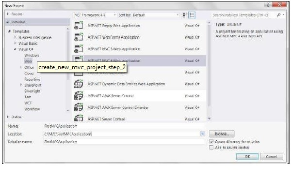 Create New MVC Project Step 2