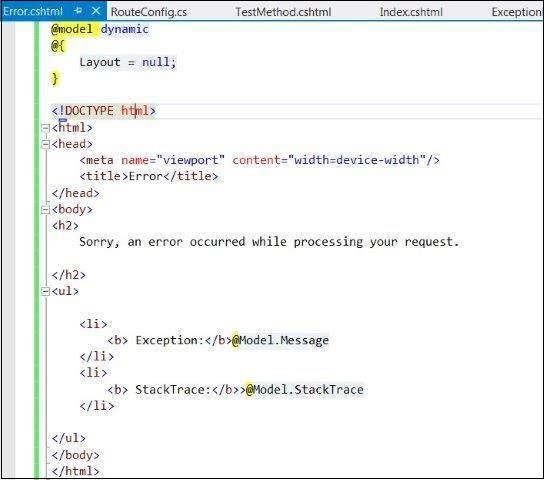 MVC Exception Common View