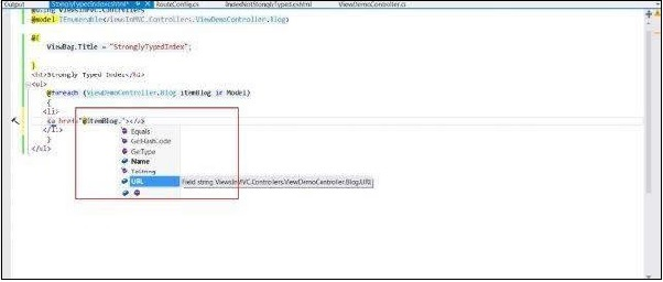 View Strongly Type Intellisense