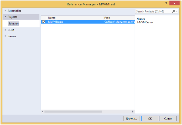 Reference Manager MVVM Test