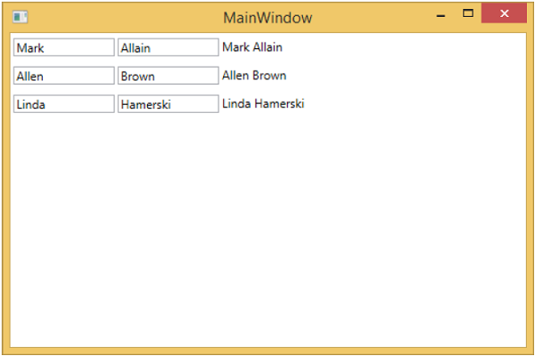 WPF Data Bindings Main Window