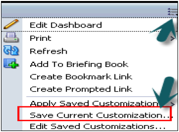 Save Customized Dashboard