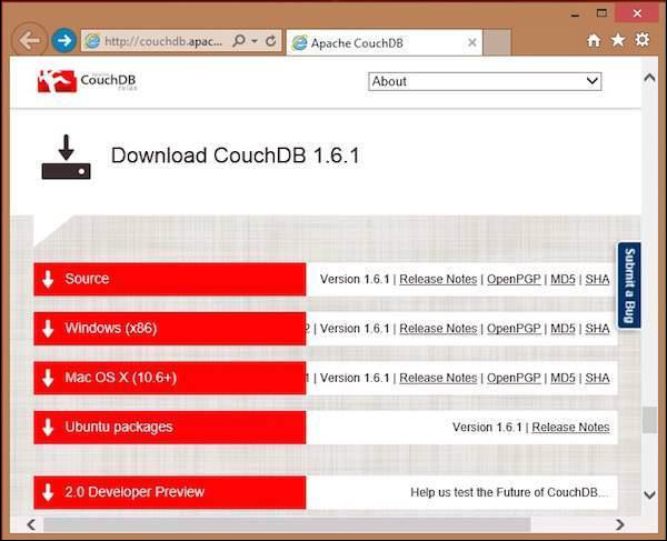 CouchDB Download Links Formats