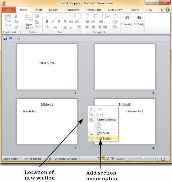 Managing Sections in Powerpoint 2010