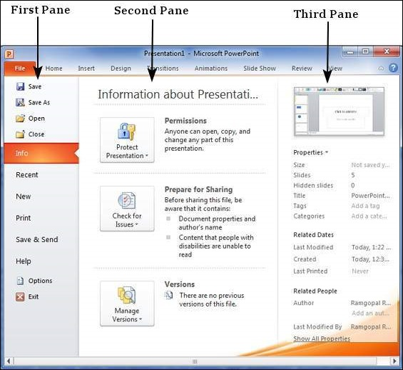 Backstage View in Powerpoint 2010