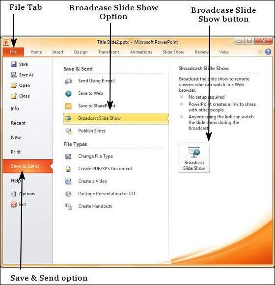 broadcast slide show in powerpoint 2010