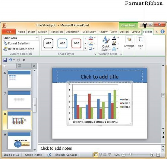 Add & Format Charts in Powerpoint 2010