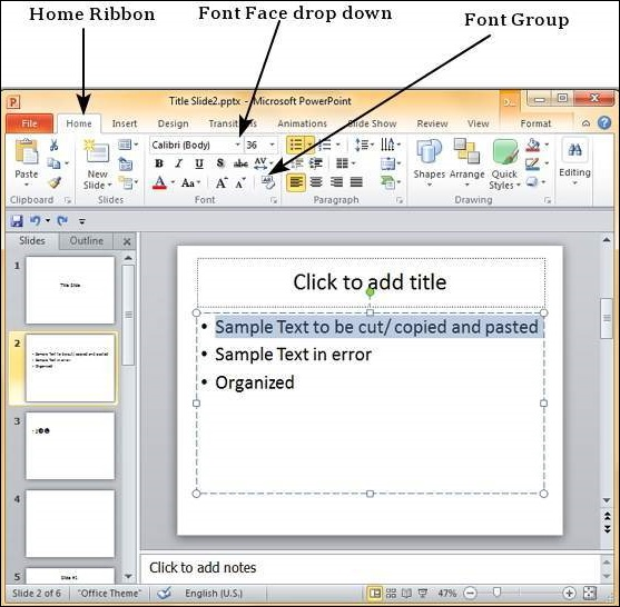 Setting Text Fonts in Powerpoint 2010
