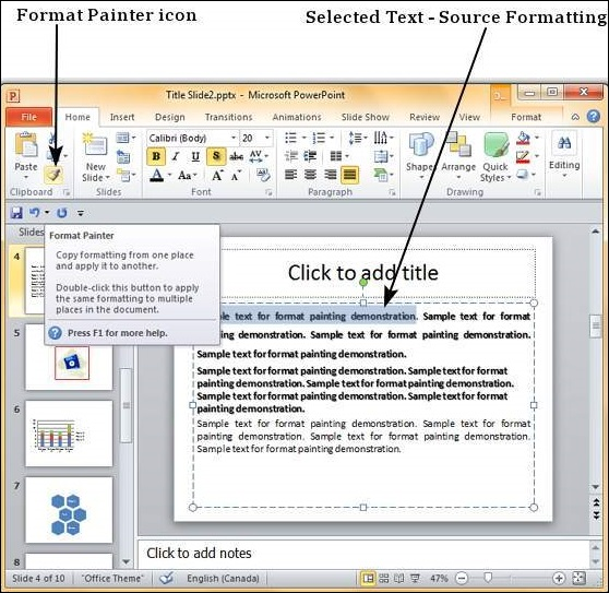 apply formatting in powerpoint 2010