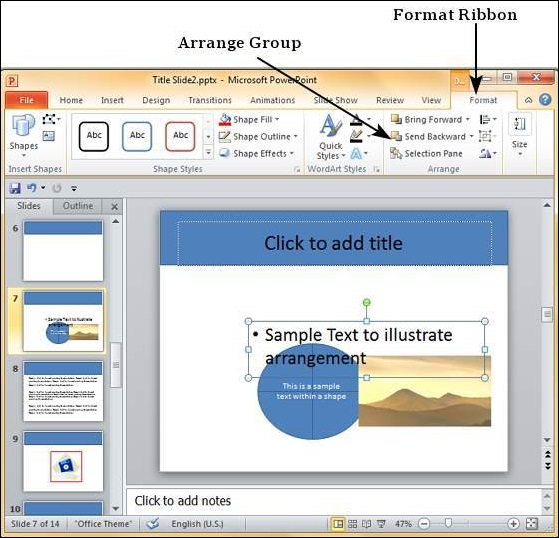 Arrange Shapes/Images in Powerpoint 2010