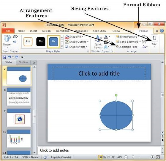 format added shapes in powerpoint 2010