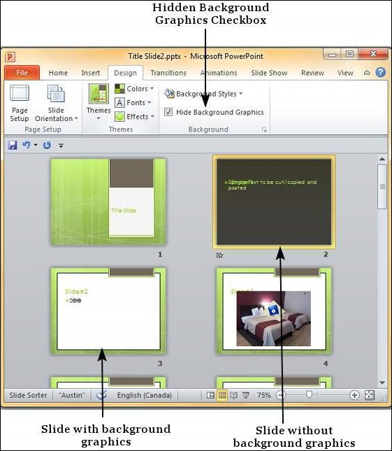Setting Backgrounds in Powerpoint 2010