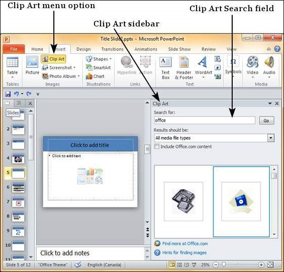 Add Pictures to Slide in Powerpoint 2010
