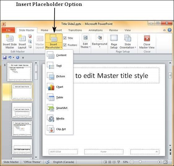 Using Slide Master in Powerpoint 2010