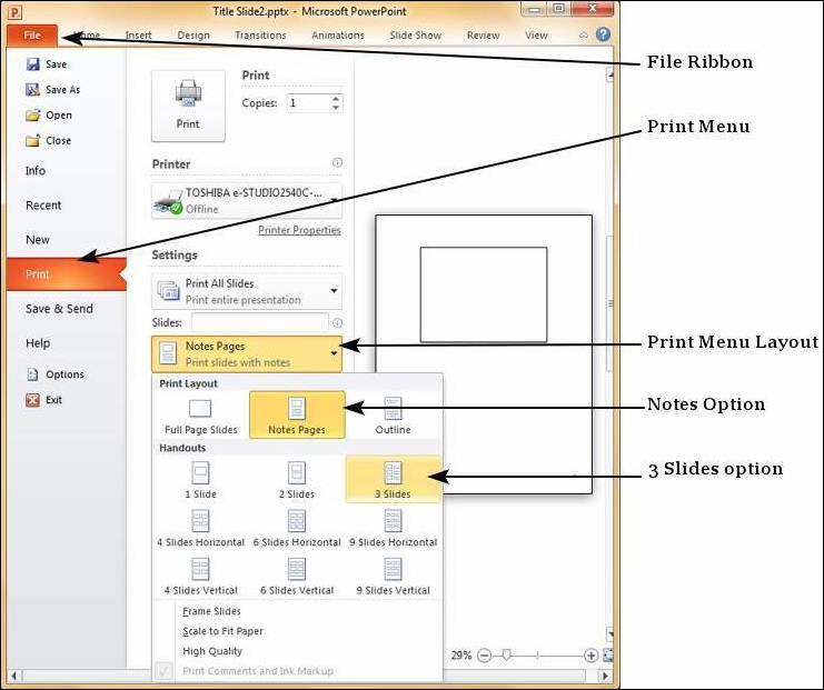 Adding Slide Notes Powerpoint 2010