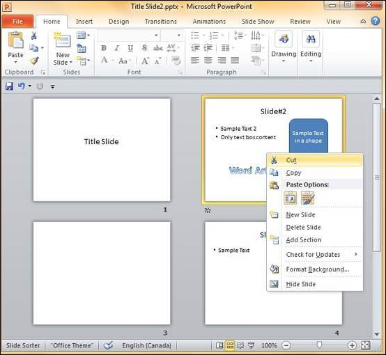 Rearranging Slides in Powerpoint 2010