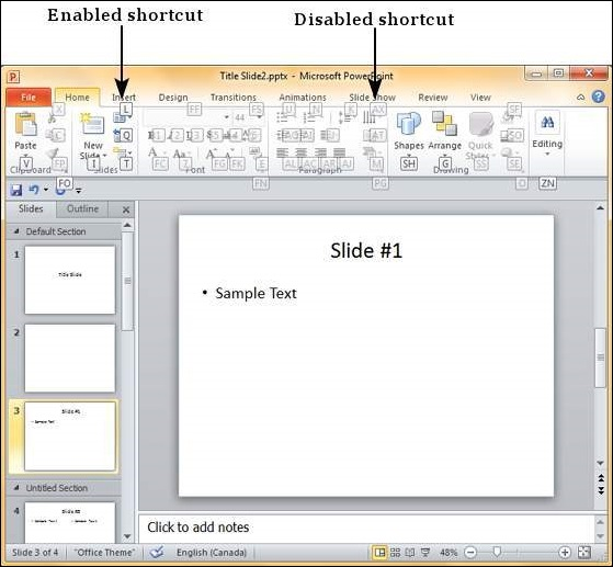 Keyboard Shortcuts in Powerpoint 2010