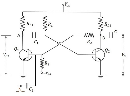 pulse circuits monostable multivibrator