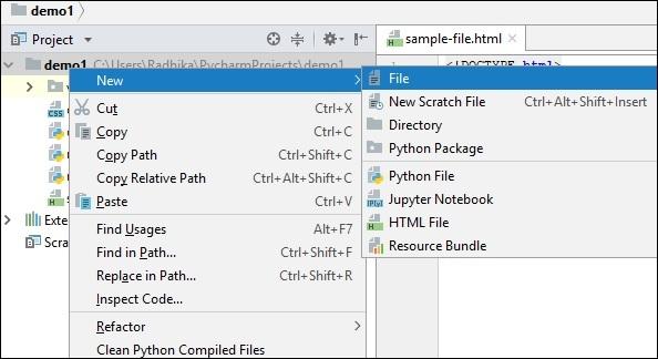 Pycharm - HTML and CSS Integration - Tutorialspoint