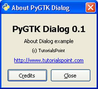 About PyGTK Dialog