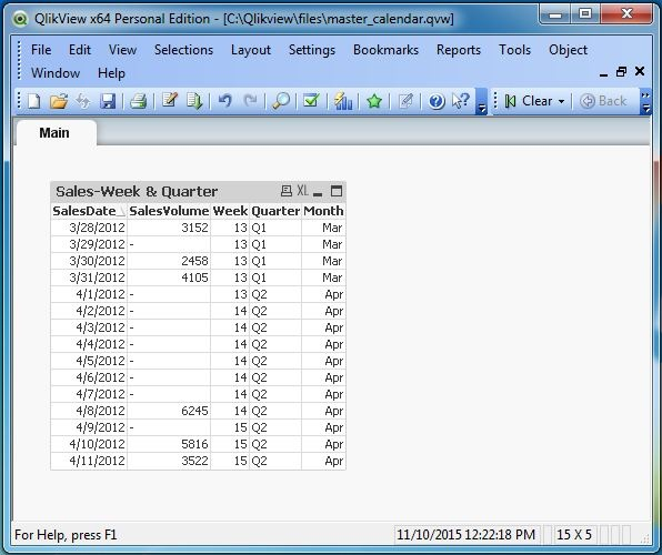 Qlikview master calendar for Qlikview table design