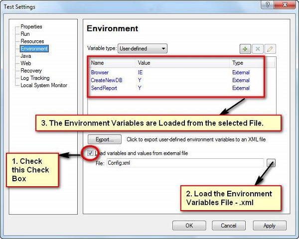 User Defined Internal Environment Variables