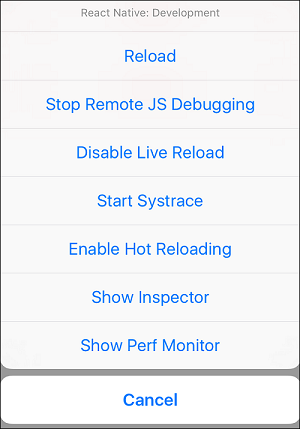 React Native Debugging Developer Menu