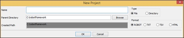 Create New Project Ex