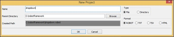 Dropdown New Project