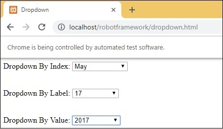 Robot Framework - Working With Dropdown