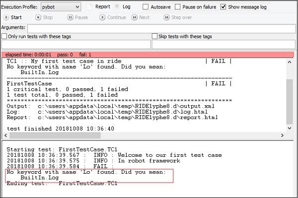 Robot Framework - First Test Case Using Ride - Tutorialspoint