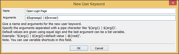 New User Keyword appears