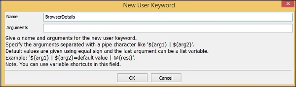 New User Keyword subsequent
