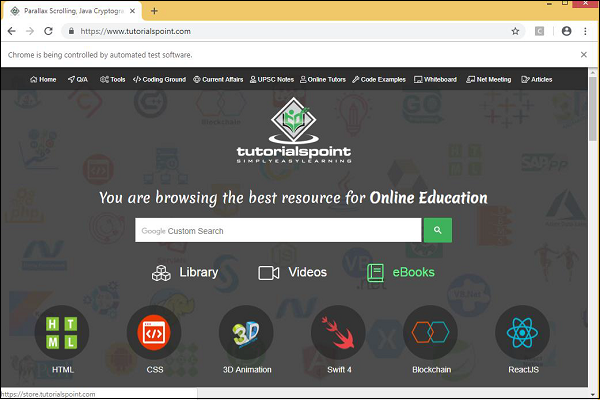 Working With Browsers Using Selenium Library - Tutorialspoint