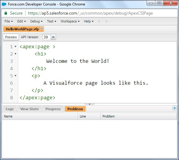 Visualforce page 1