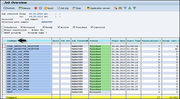sap basis monitoring a background job