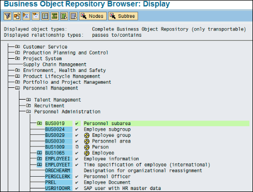 Business Object Repository Display