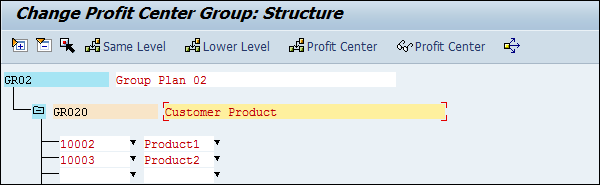 Assigning Profit Center Group
