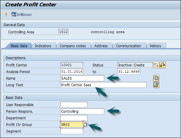 Create Profit Center