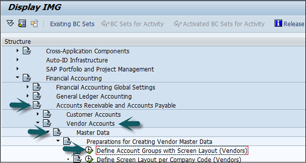 Account Groups screen layout