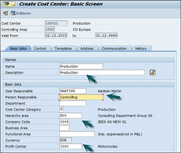 Cost Center Details