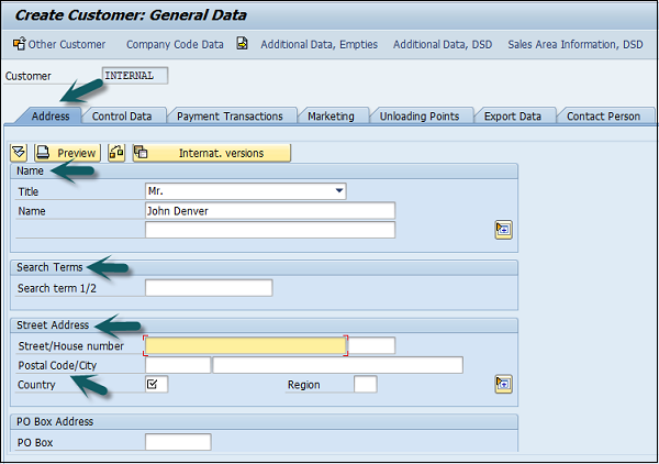 Create Customer General Data