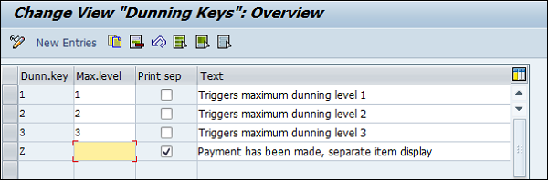 Create Dunning Keys