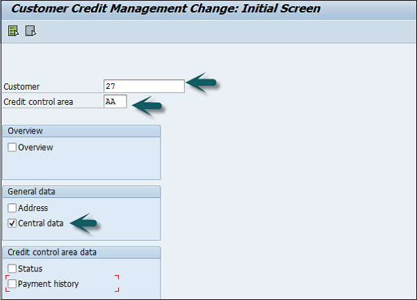 how to set credit limit for customers in sap