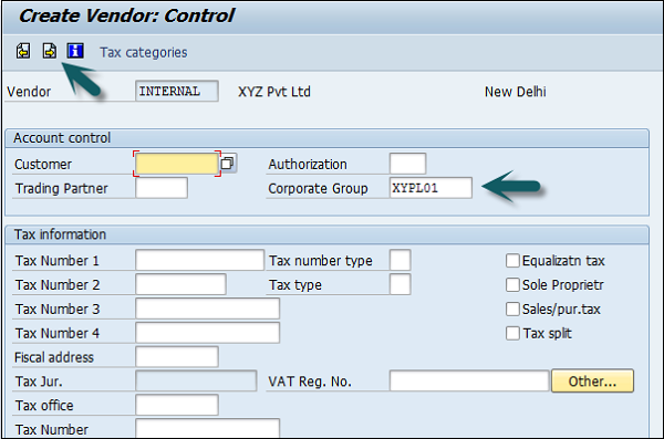 Enter Vendor Control Group Details
