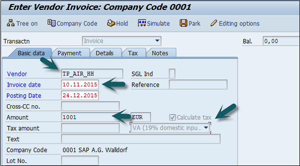 sap fi post purchase invoice