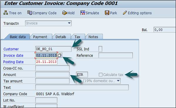 Invoice Data Field