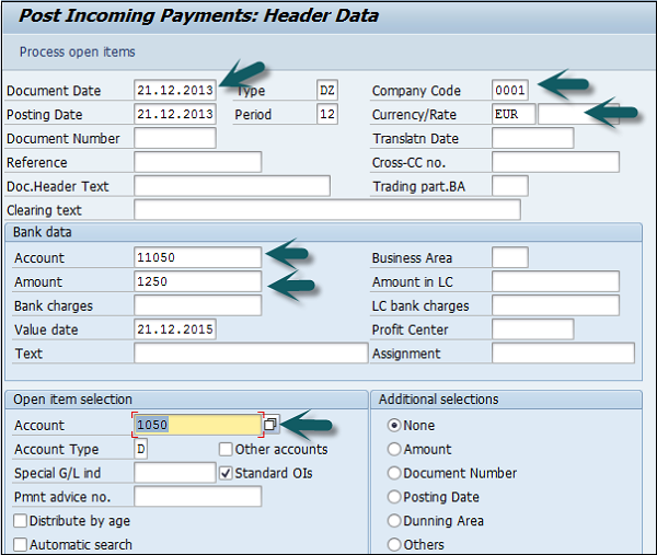 Partial Payment Header Data