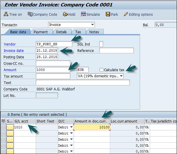 SAP FI - Withholding Tax in vendor invoice